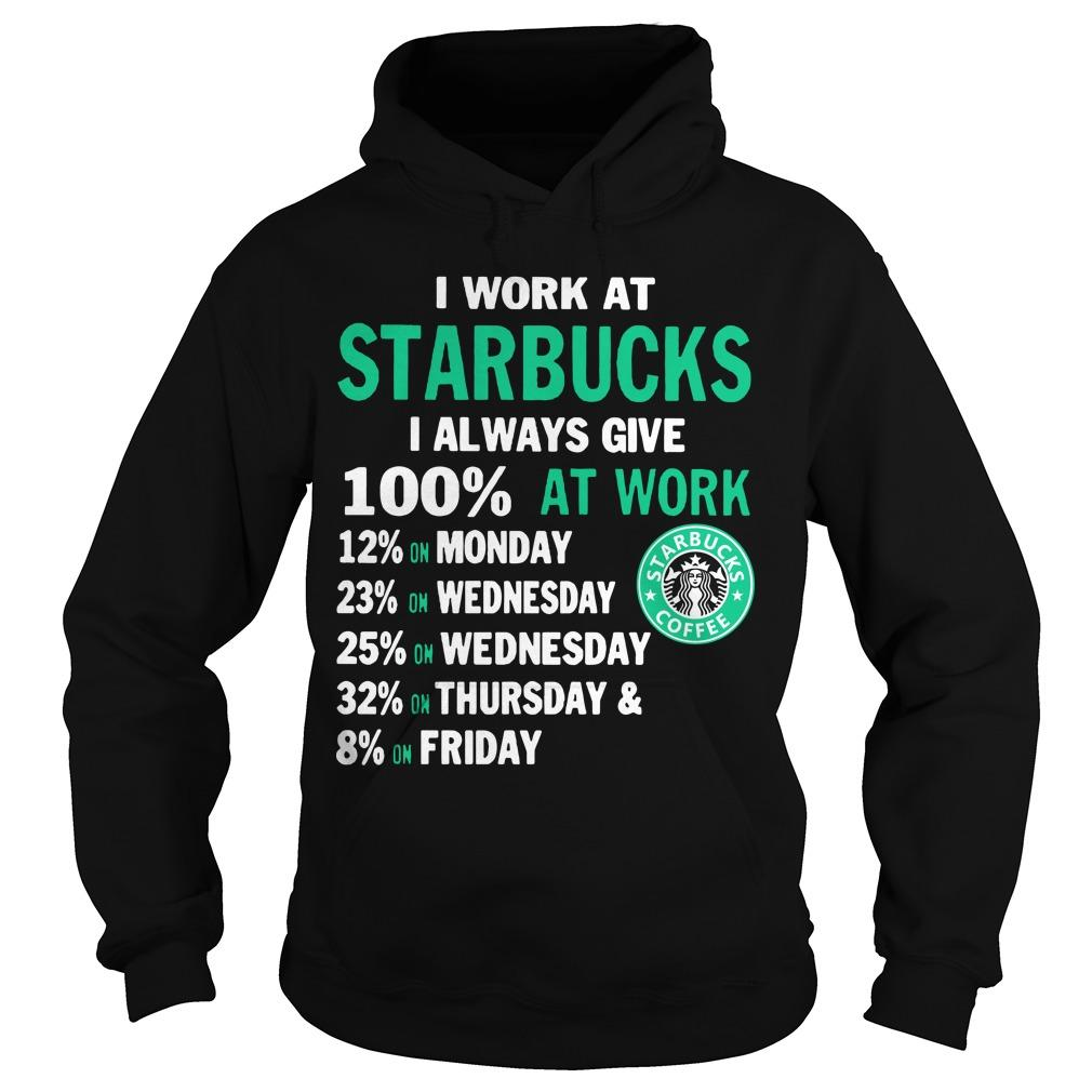 I Work At Starbucks I Always Give 100% At Work Hoodie