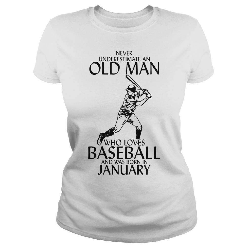 Never Underestimate An Old Man Who Loves Baseball And Was Born In January Longsleeve