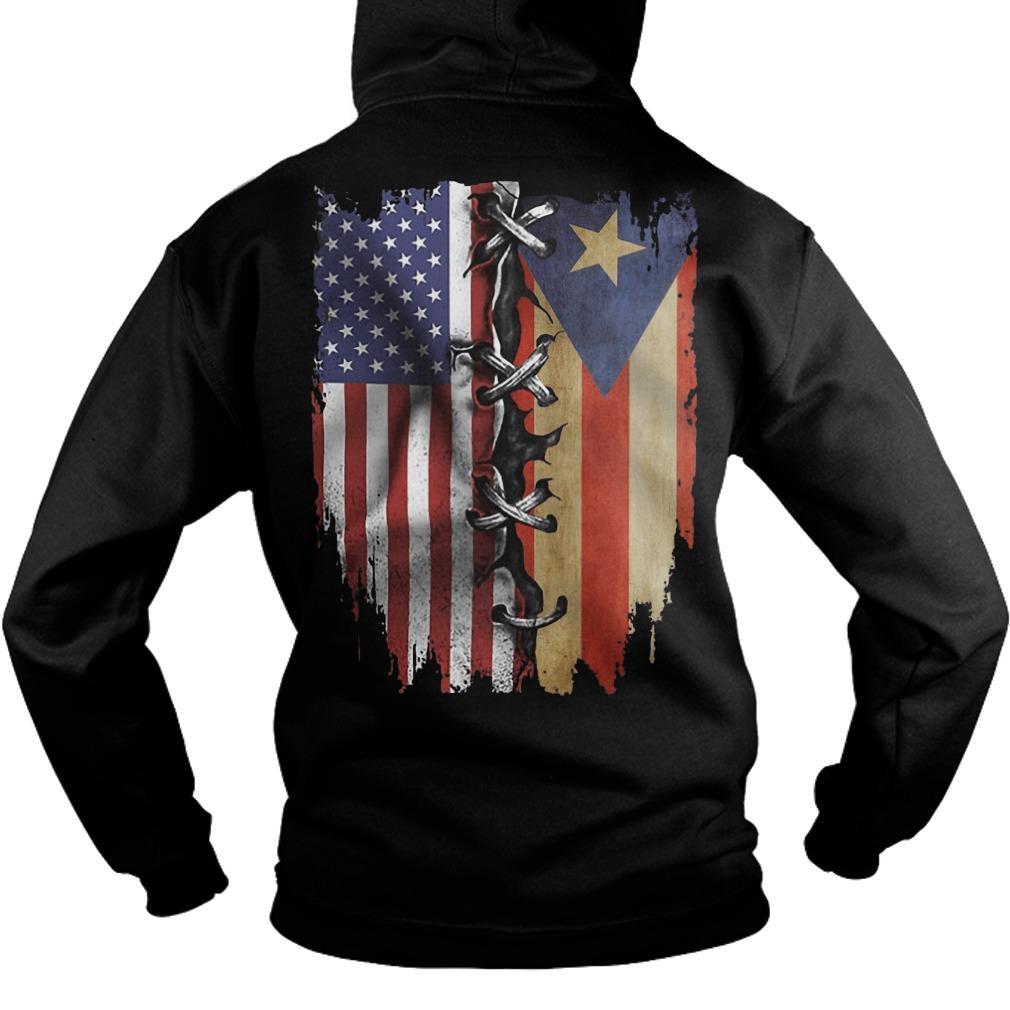 Puerto Rican And American Flag Hoodie