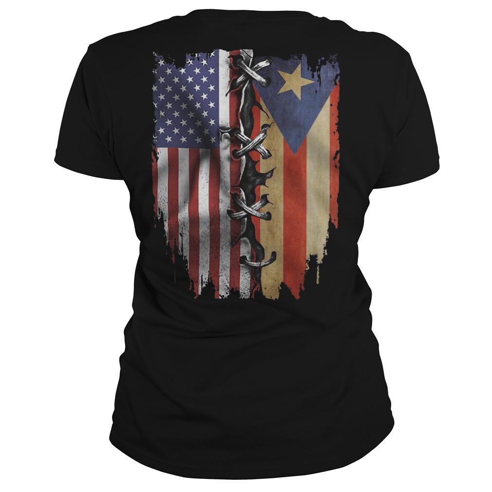 Puerto Rican And American Flag Longsleeve