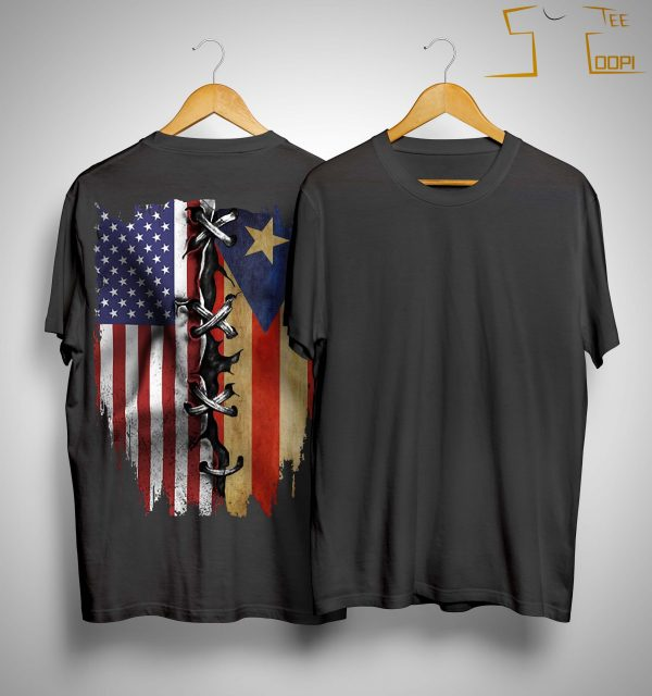 Puerto Rican And American Flag Shirt