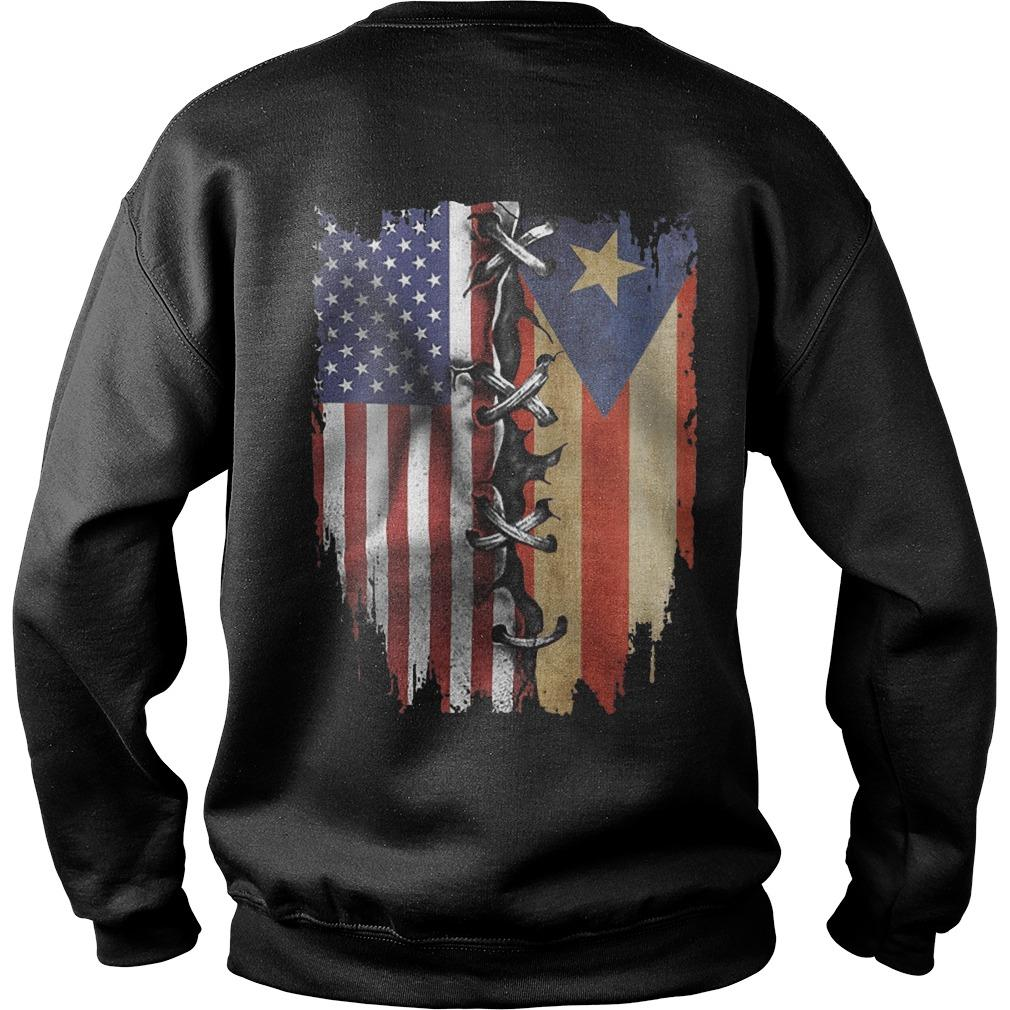 Puerto Rican And American Flag Sweater