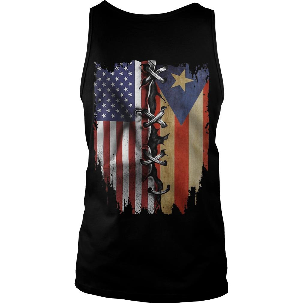 Puerto Rican And American Flag Tank Top