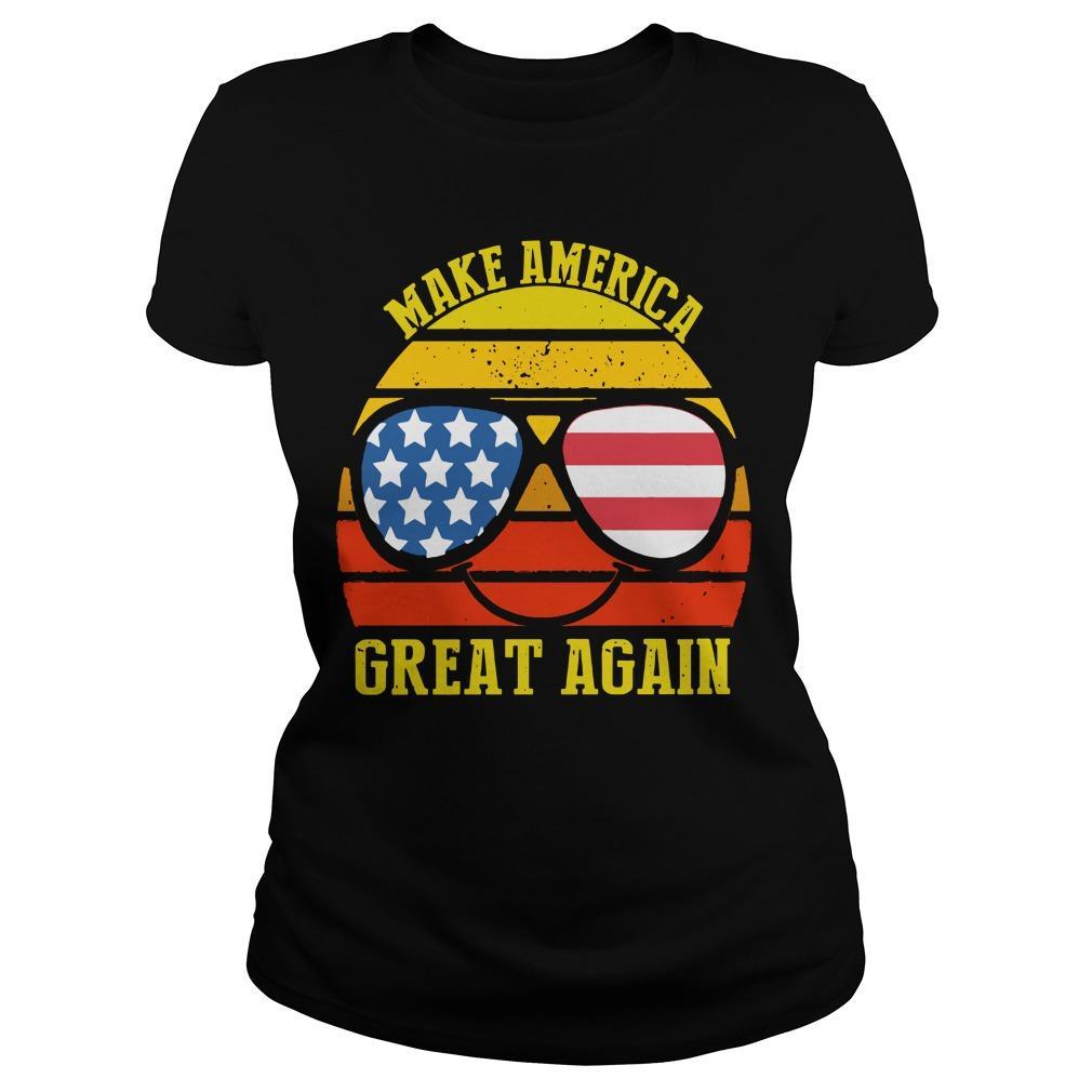 Vintage American Flag Make America Great Again Longsleeve