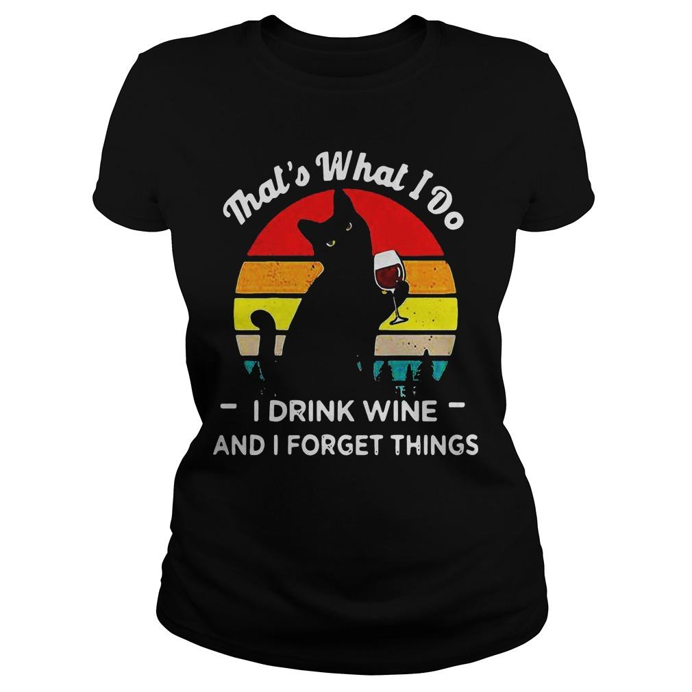Vintage Black Cat That's What I Do I Drink Wife And I Forget Things Longsleeve