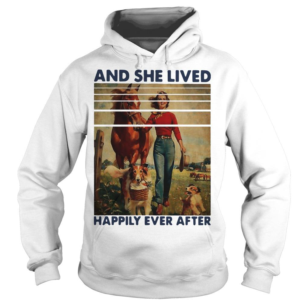 Vintage Girl Horse Dog And She Lived Happily Ever After Hoodie