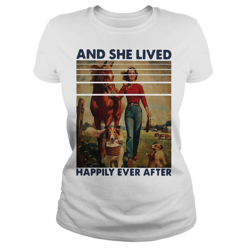 Vintage Girl Horse Dog And She Lived Happily Ever After Longsleeve