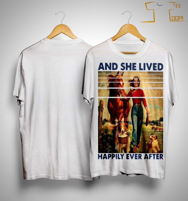 Vintage Girl Horse Dog And She Lived Happily Ever After Shirt