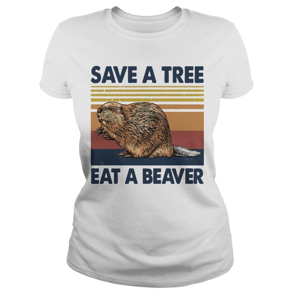 Vintage Save A Tree Eat A Beaver Longsleeve