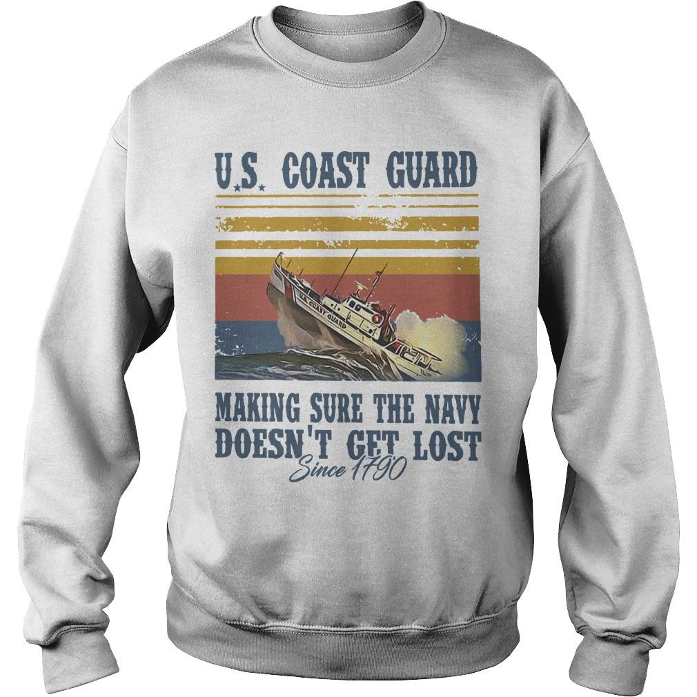 Vintage Us Coast Guard Making Sure The Navy Doesn't Get Lost Sweater