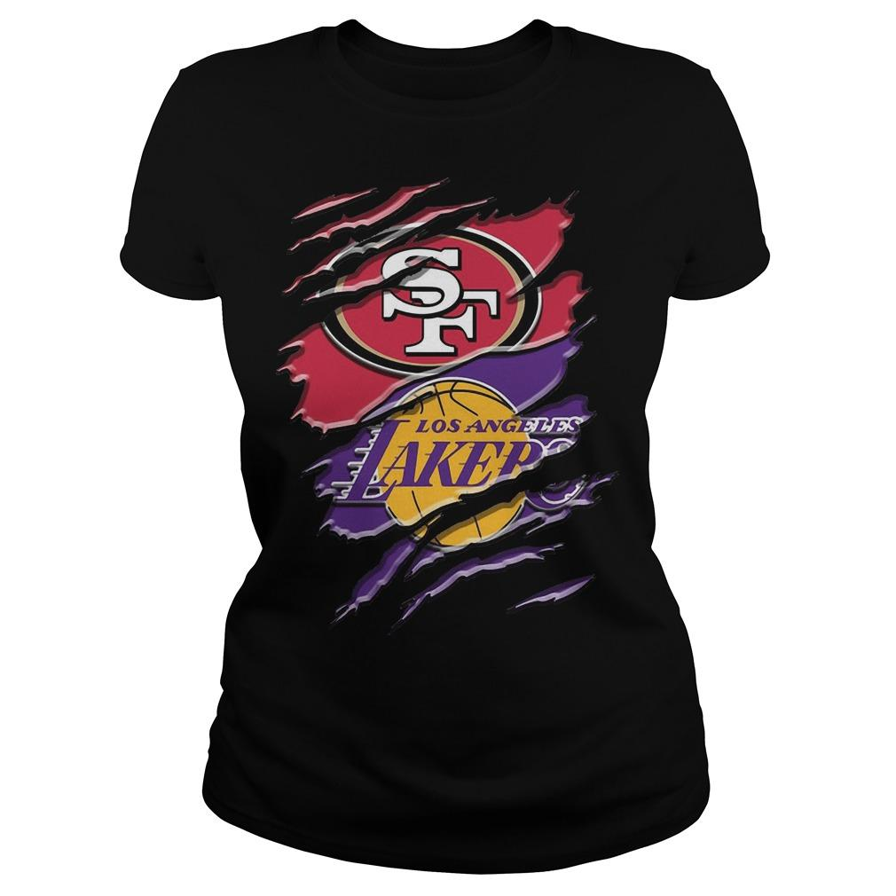 San Francisco 49ers Vs Los Angeles Lakers Longsleeve