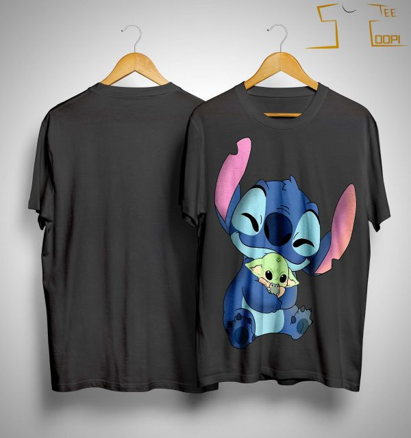 Stitch Hugging Baby Yoda Shirt