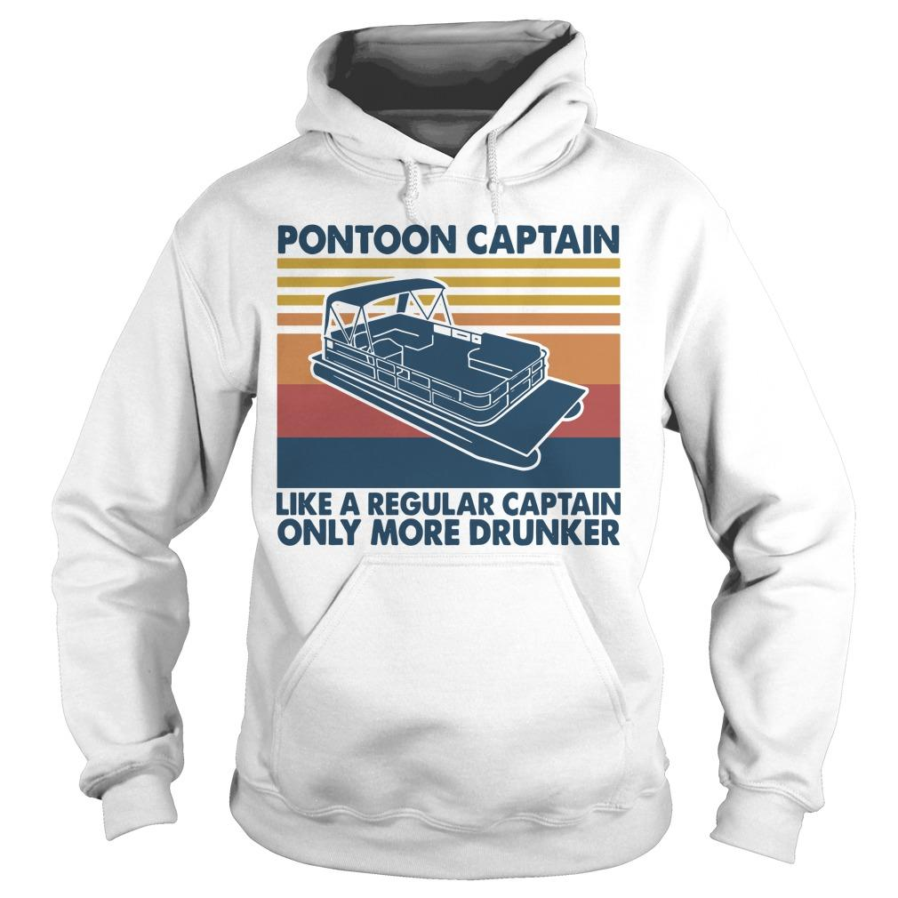 Vintage Boating Pontoon Captain Like A Regular Captain Only Cooler Hoodie