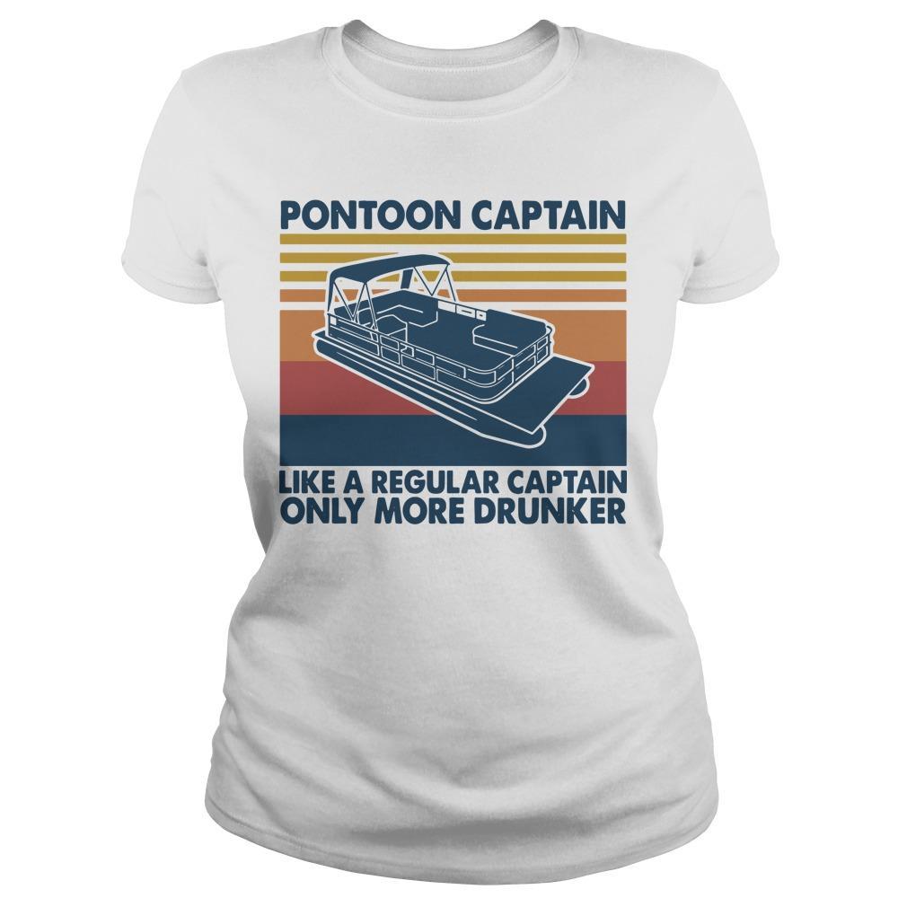 Vintage Boating Pontoon Captain Like A Regular Captain Only Cooler Longsleeve