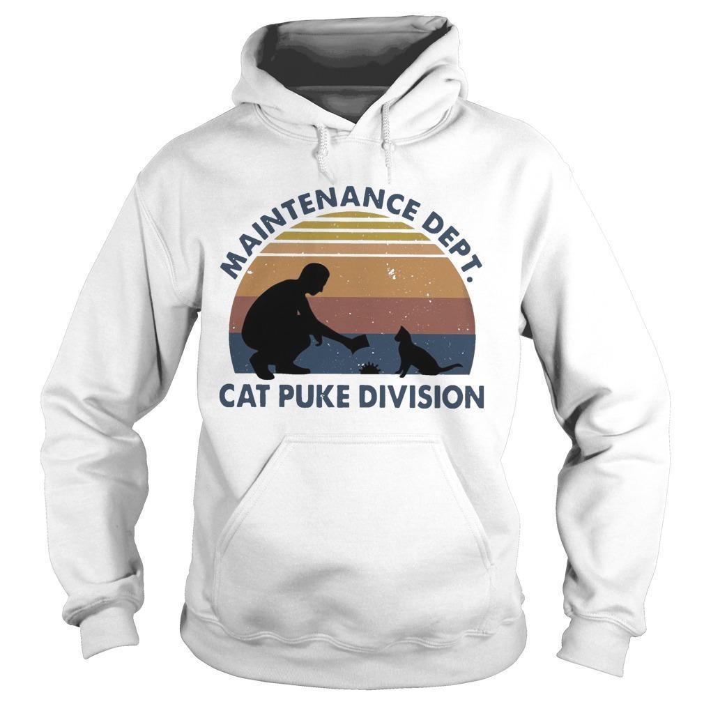 Vintage Maintenance Dept Cat Puke Division Hoodie