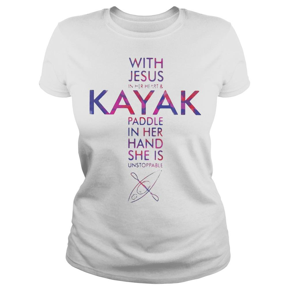 With Jesus In Her Heart And Kayak Paddle In Her Hand She Is Unstoppable Longsleeve