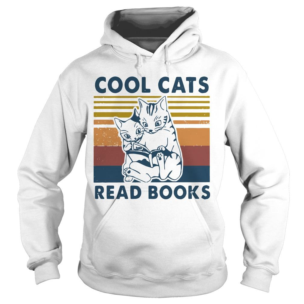 Vintage Cool Cats Read Books Hoodie