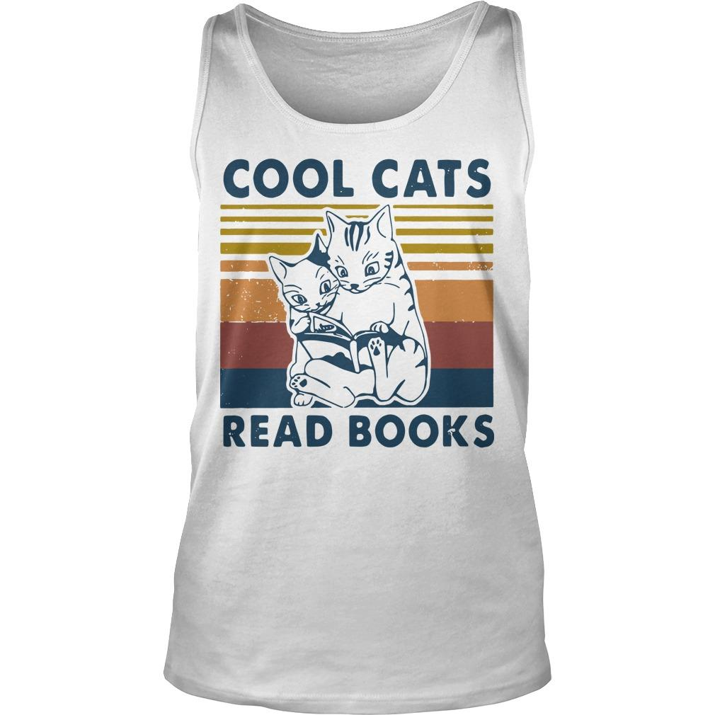 Vintage Cool Cats Read Books Tank Top