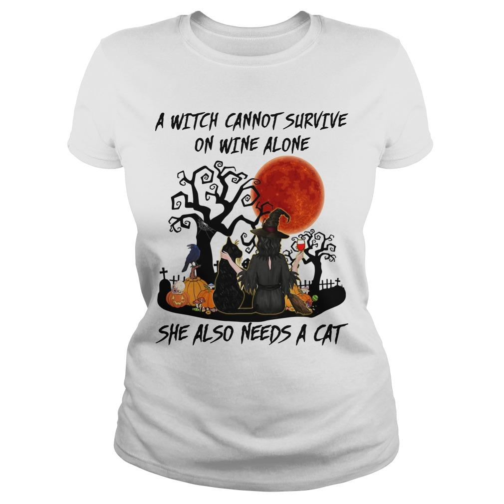 A Witch Cannot Survive On Wine Alone She Also Needs A Cat Longsleeve