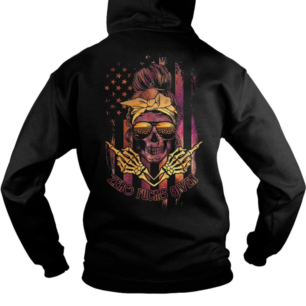 American Flag Sunflower Skull Girl Zero Fucks Given Hoodie