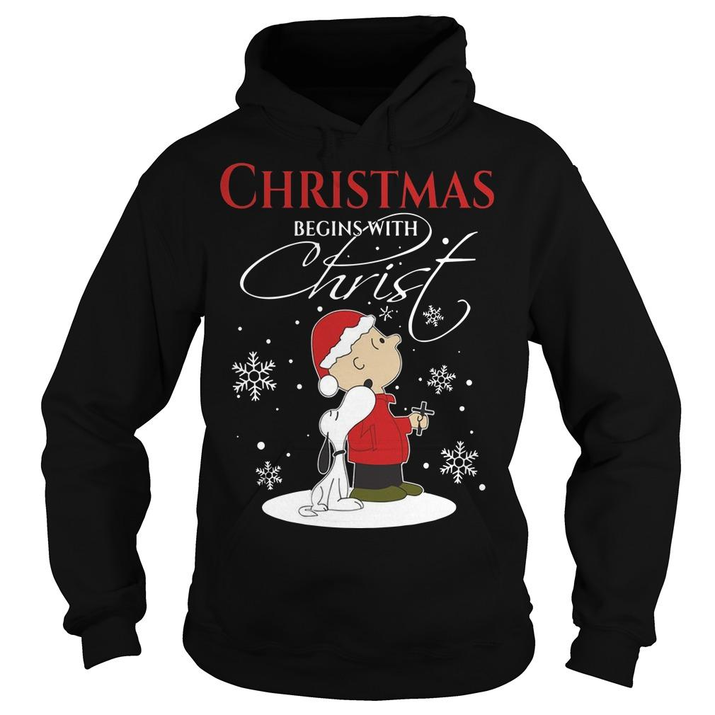 Snoopy Christmas Begins With Christ Hoodie