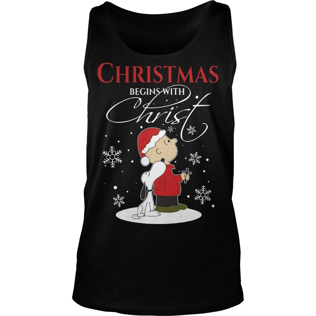 Snoopy Christmas Begins With Christ Tank Top
