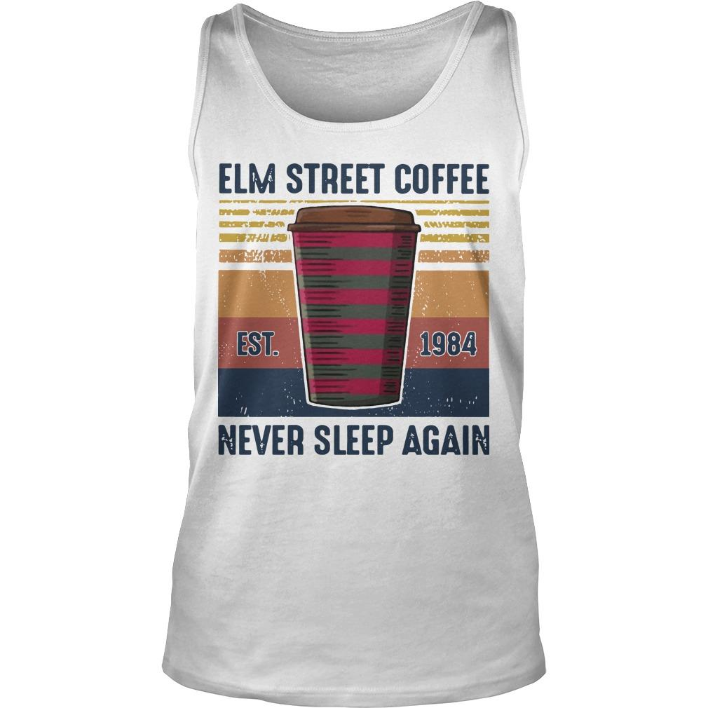 Vintage Elm Street Coffee Never Sleep Again Tank Top