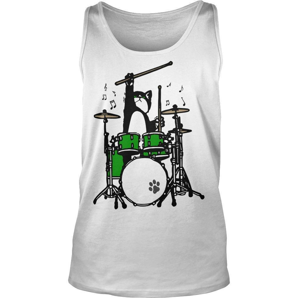 Cat Playing Drums Tank Top