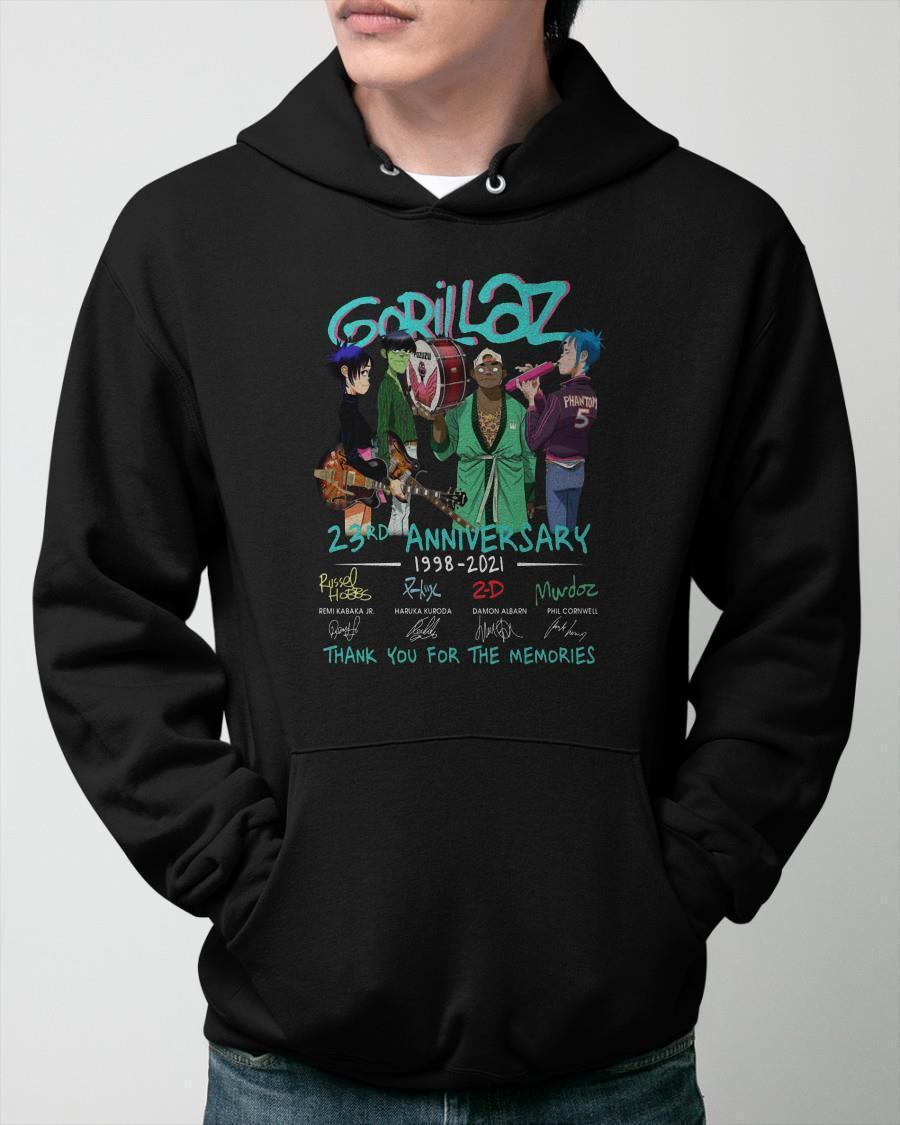Gorillaz 23rd Anniversary 1998 2021 Thank You For The Memories Hoodie
