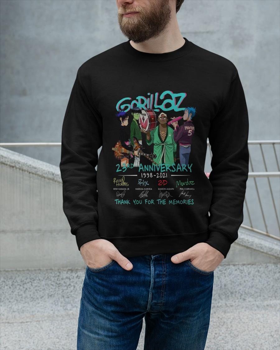 Gorillaz 23rd Anniversary 1998 2021 Thank You For The Memories Sweater