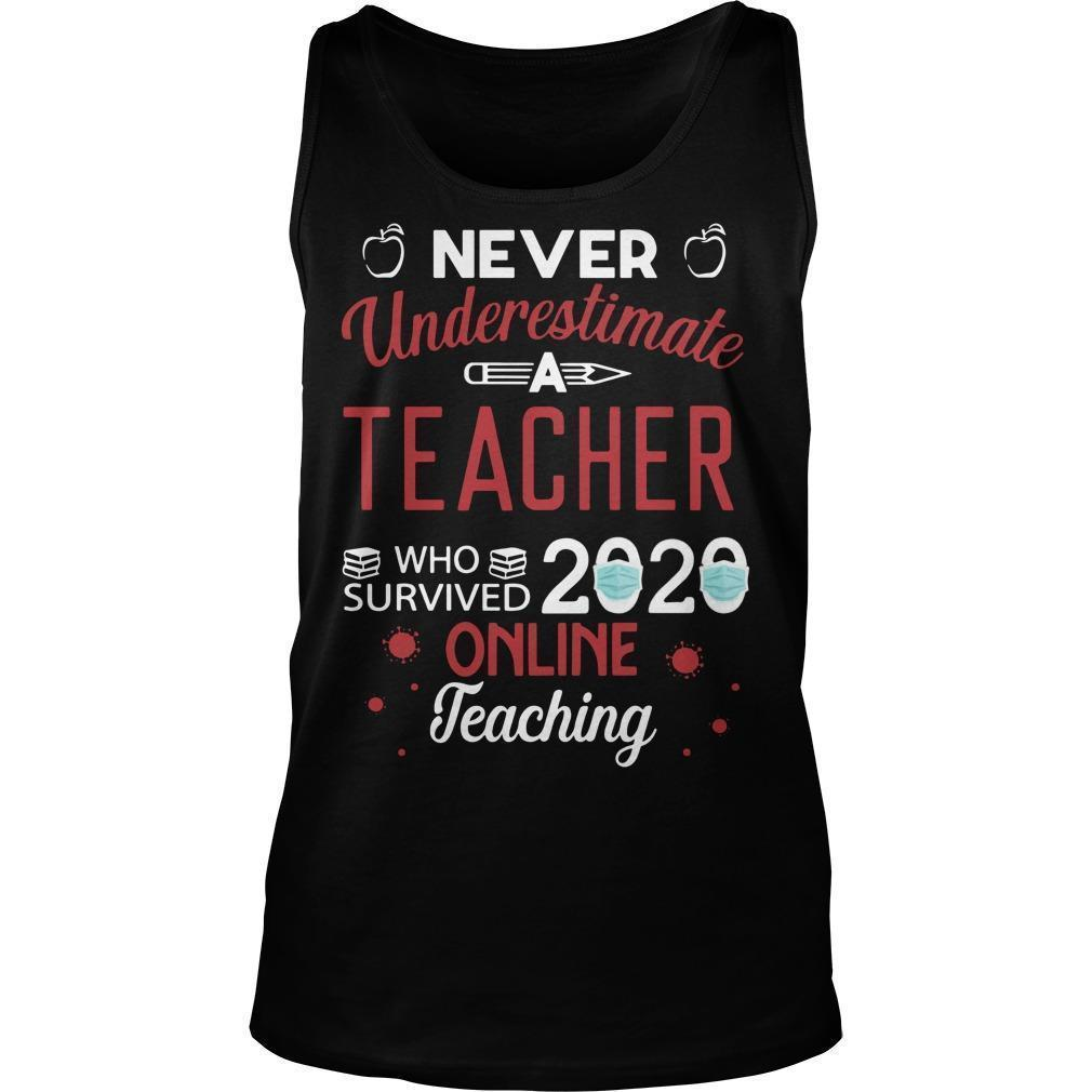 Never Underestimate A Teacher Who Survived 2020 Online Teaching Tank Top