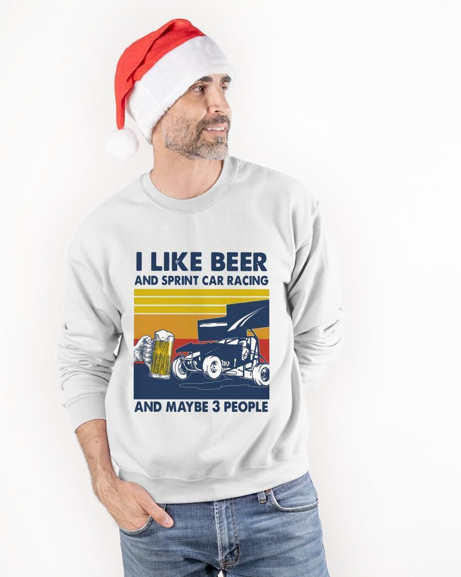 Vintage I Like Beer And Sprint Car Racing And Maybe 3 People Sweater