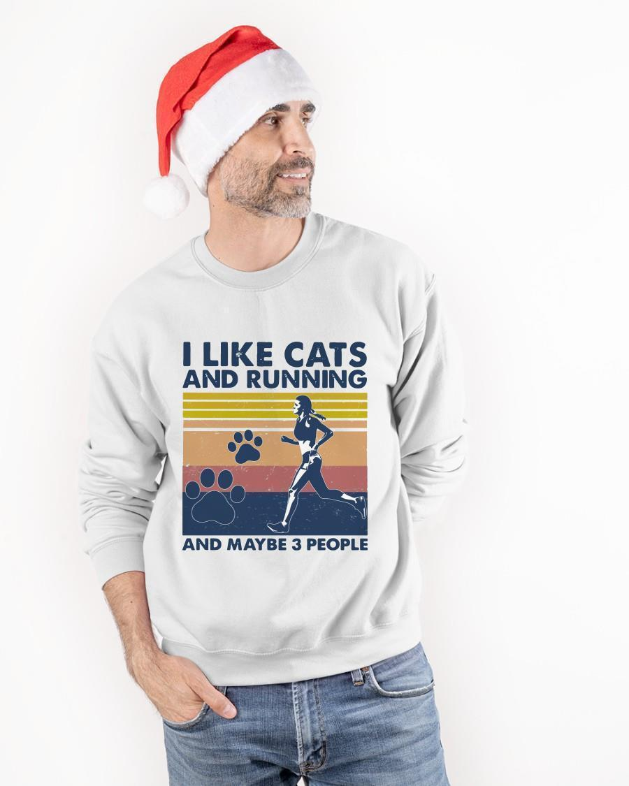 Vintage I Like Cats And Running And Maybe 3 People Sweater