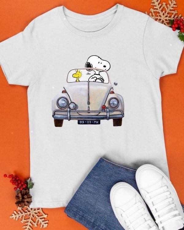 Snoopy And Woodstock Driving Volkswagen Beetle Shirt