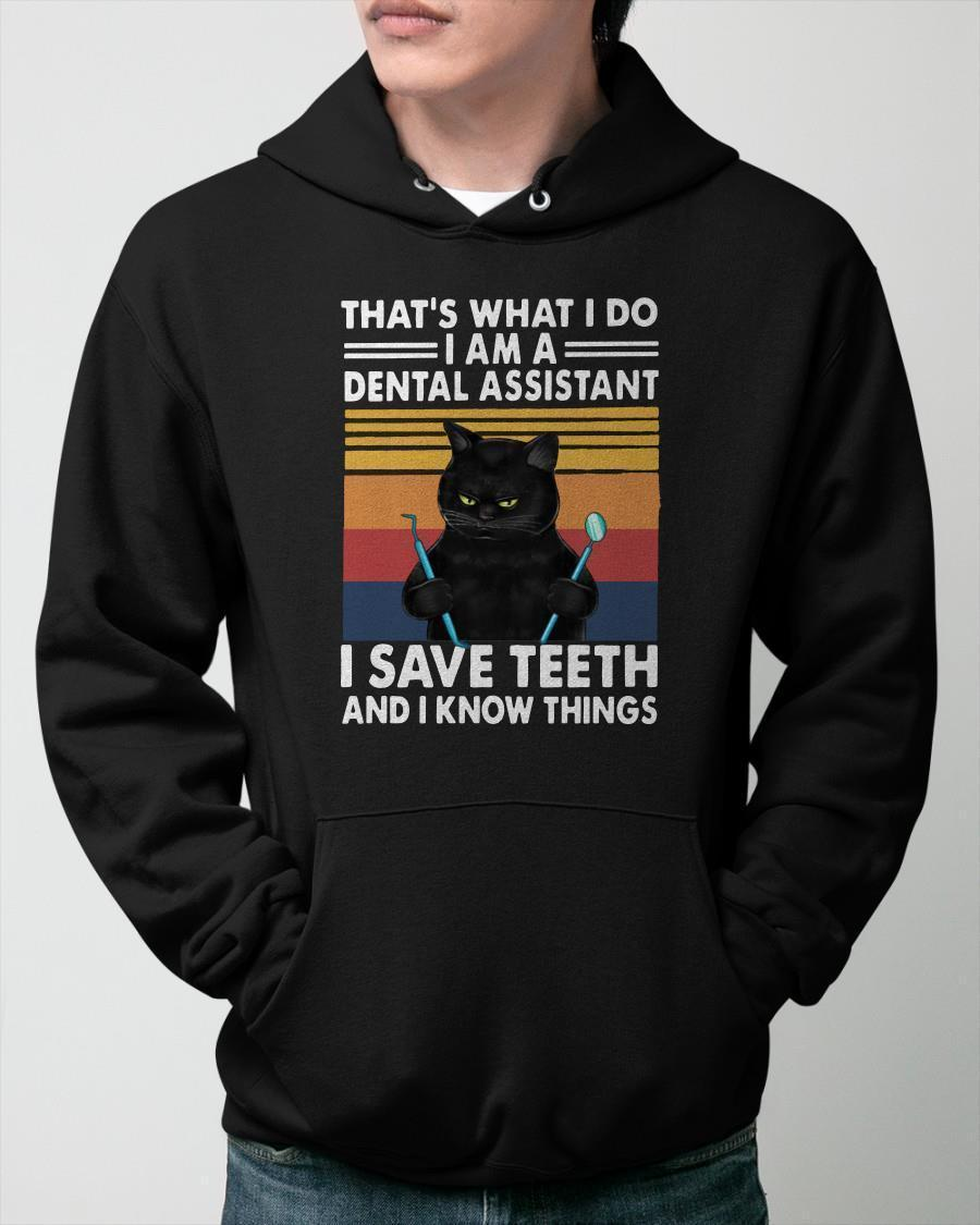 Vintage Cat That's What I Do I Am A Dental Hygienist I Save Teeth Hoodie