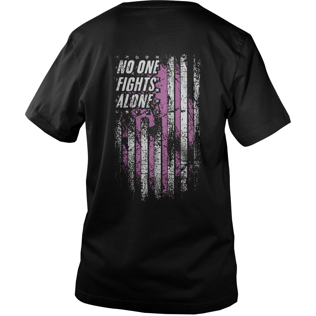 No One Fights Alone Breast Cancer Awareness Back Guy V-Neck