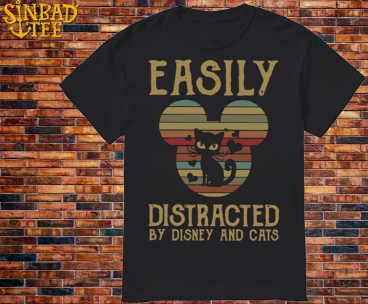 Sunset Easily Distracted By Disney And Cats Shirt