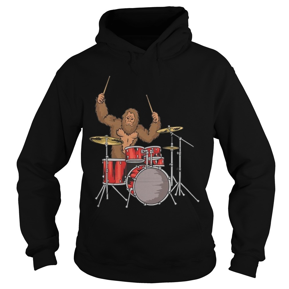 Drummer Shirt Gifts Sasquatch Bigfoot Drum Player Hoodie