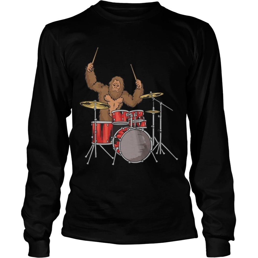 Drummer Shirt Gifts Sasquatch Bigfoot Drum Player Longsleeve Tee