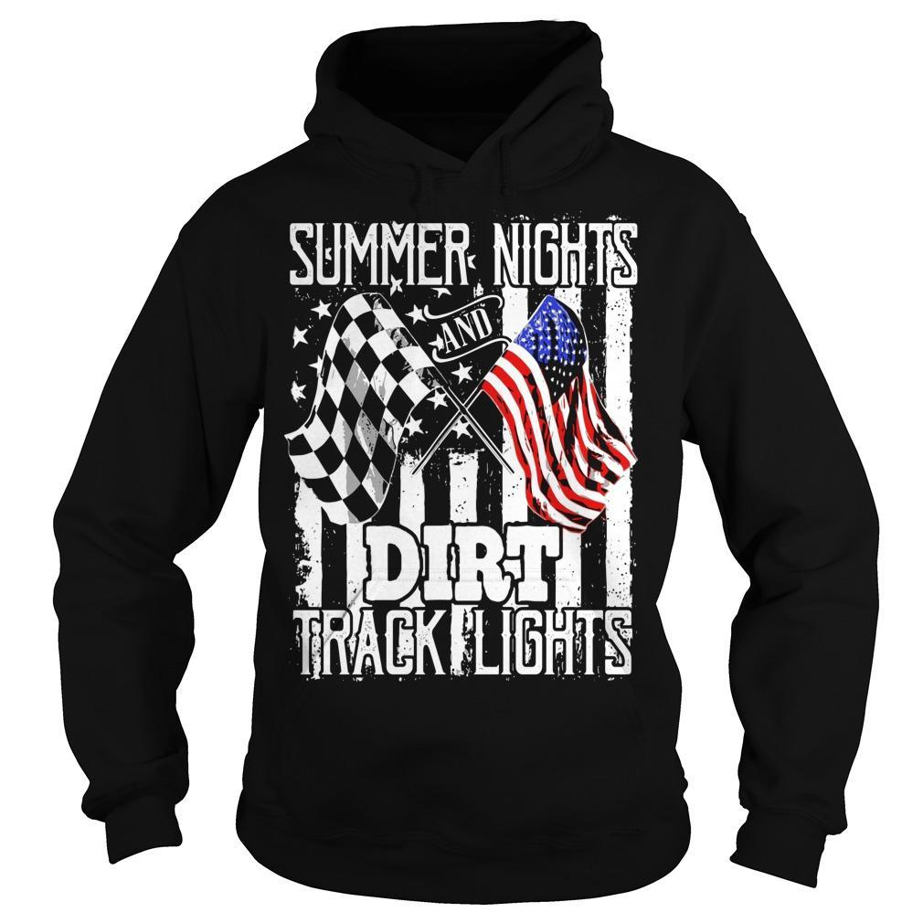 American Flag Summer Nights Dirt Track Lights Hoodie