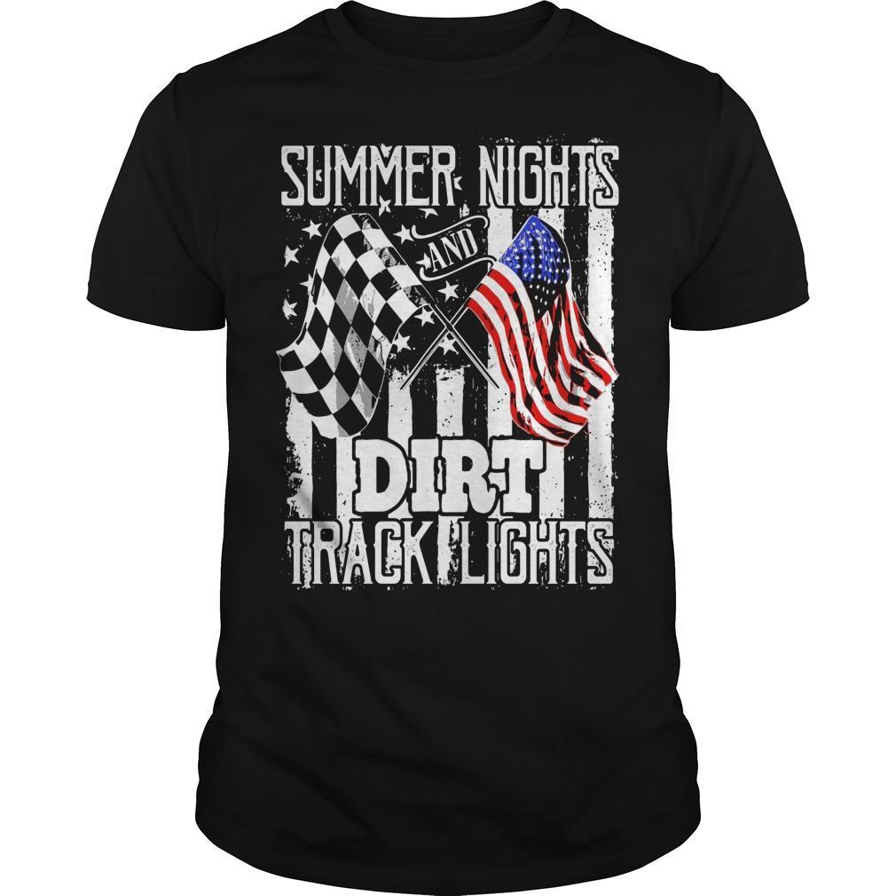 American Flag Summer Nights Dirt Track Lights Shirt