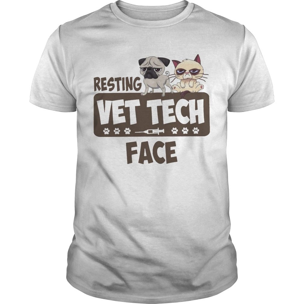 Resting Dog And Cat Vet Tech Face
