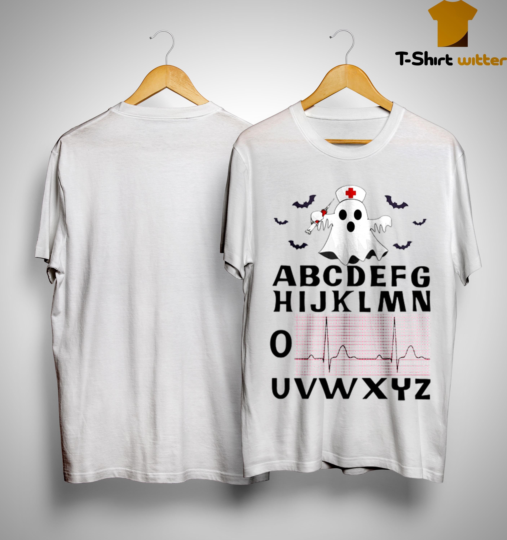 Boo Ghost Nurse Alphabet Heartbeat Shirt