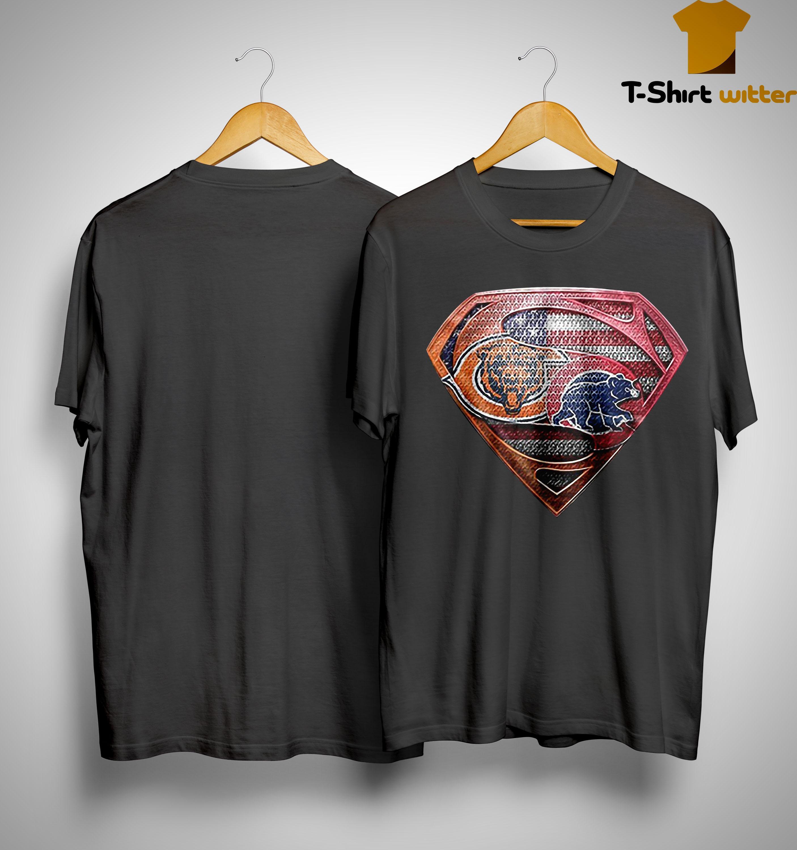 Chicago Bears Chicago Cubs Logo Superman T Shirt