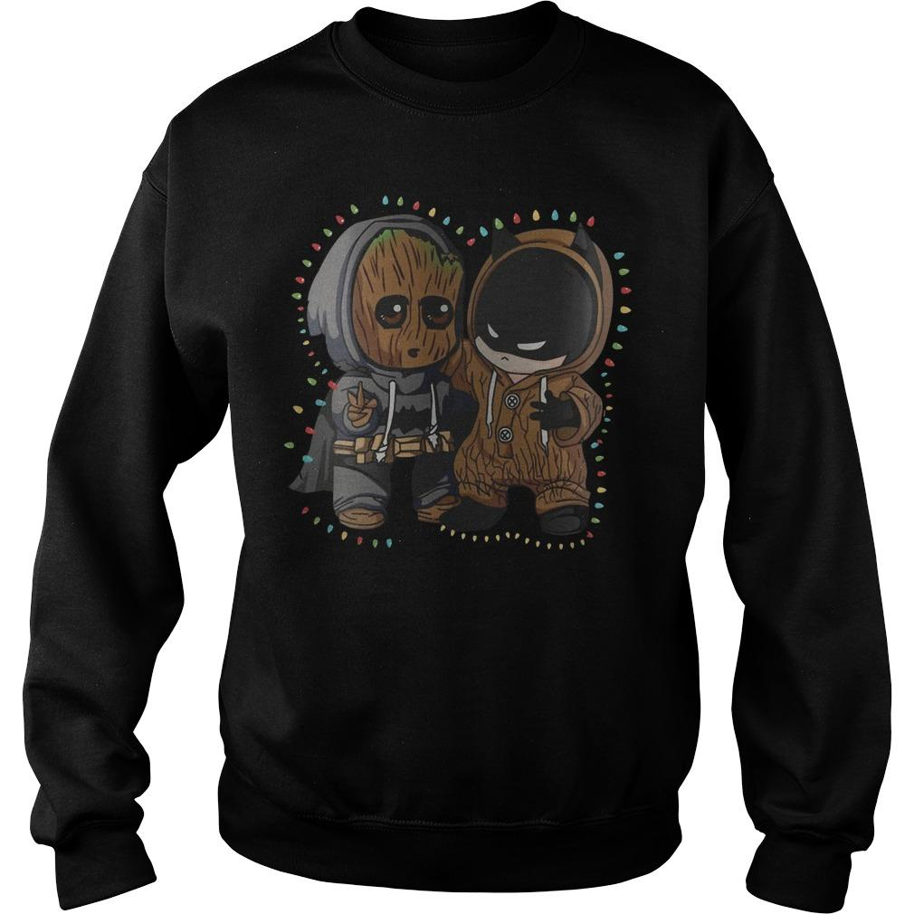 Christmas Lights Baby Groot Batman Friend Sweater