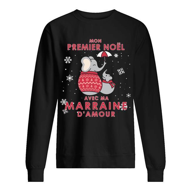 Elephant Mon Premier Noel Avec Ma Marraine D'amour Sweater