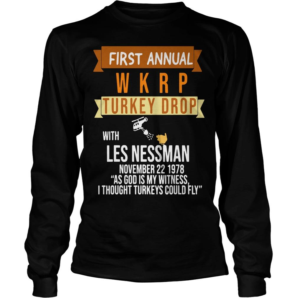 First Annual With Les Nessman November 22 1978 Wkrp Turkey Drop Longsleeve