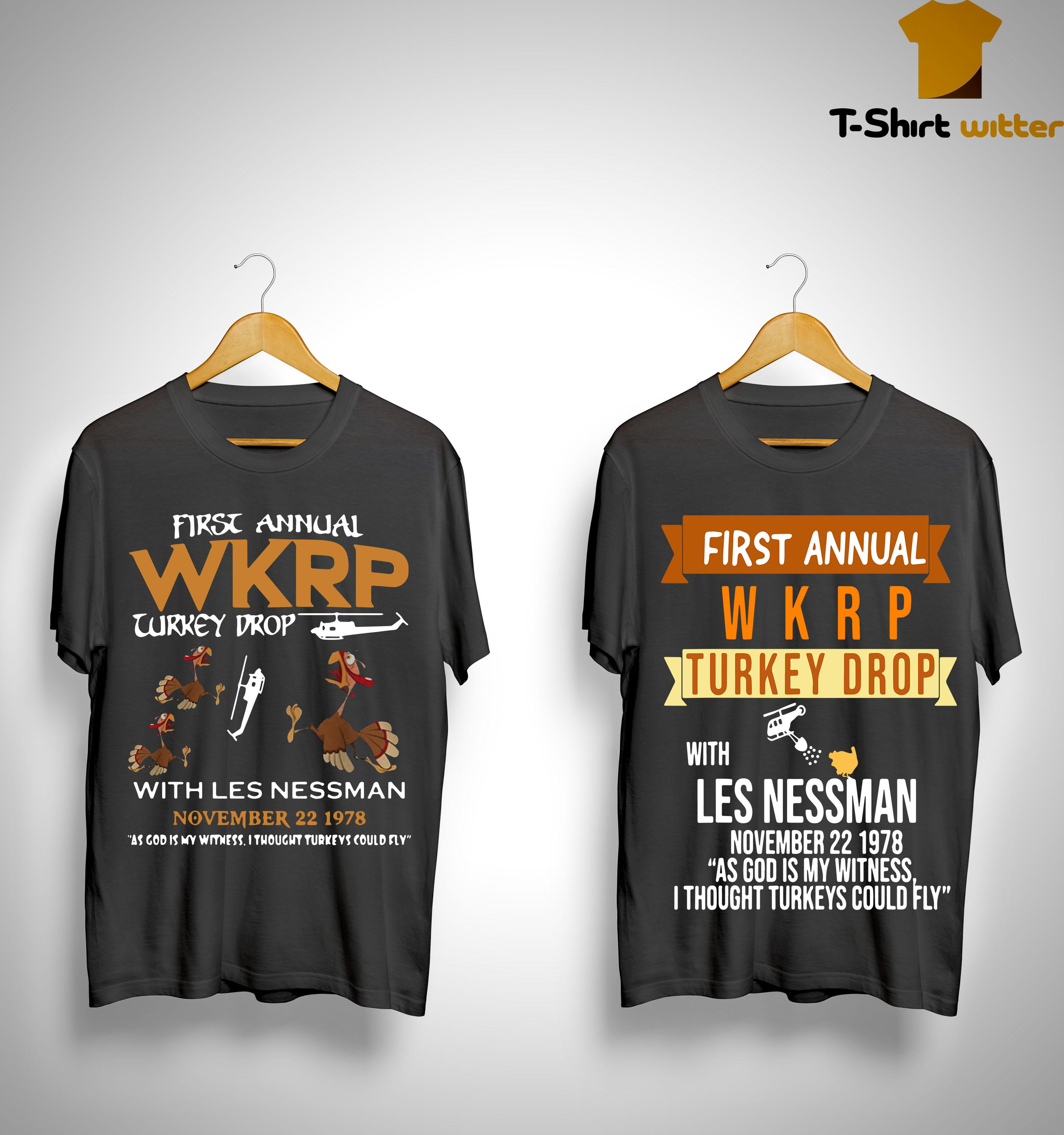 First Annual With Les Nessman November 22 1978 Wkrp Turkey Drop Shirt