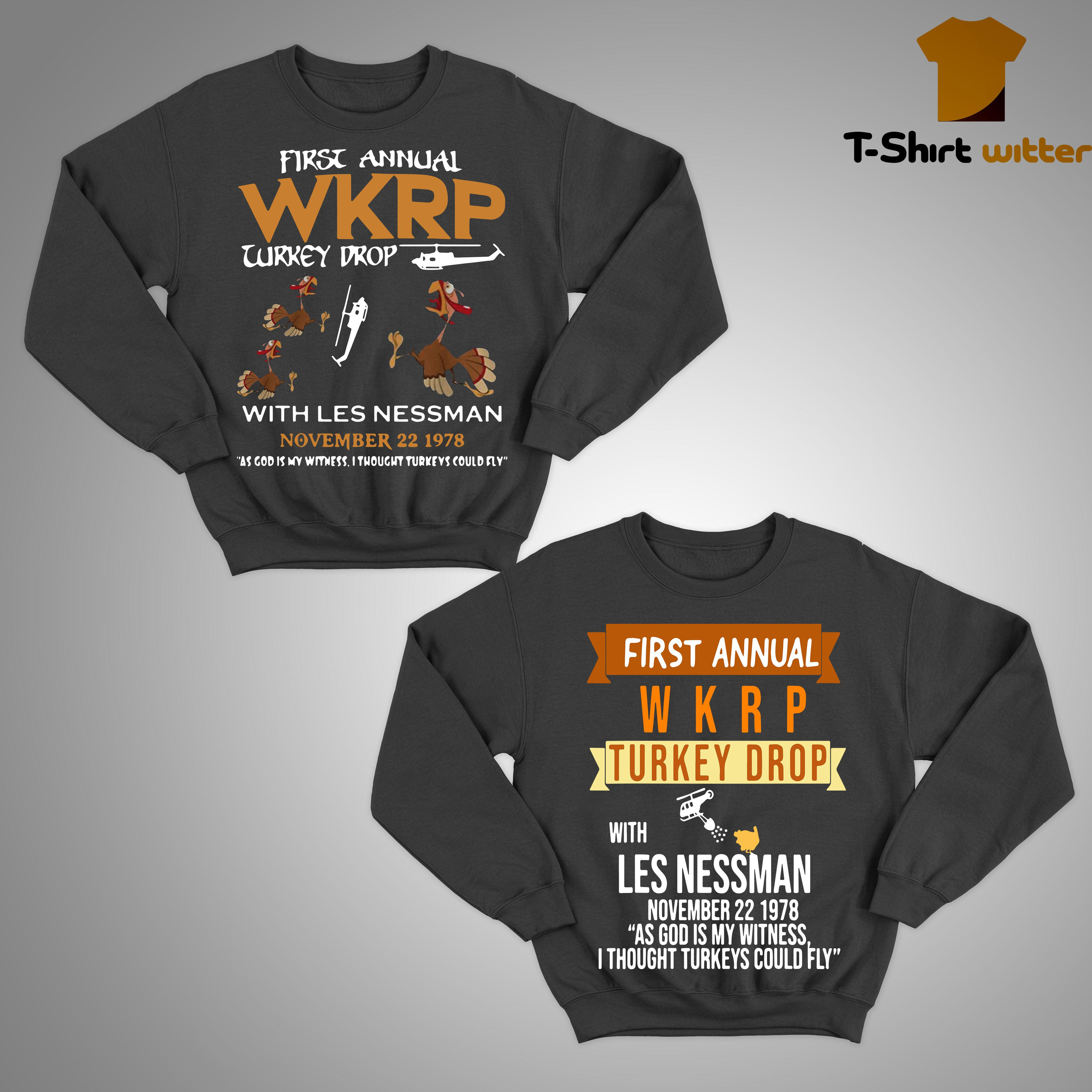 First Annual With Les Nessman November 22 1978 Wkrp Turkey Drop Sweater