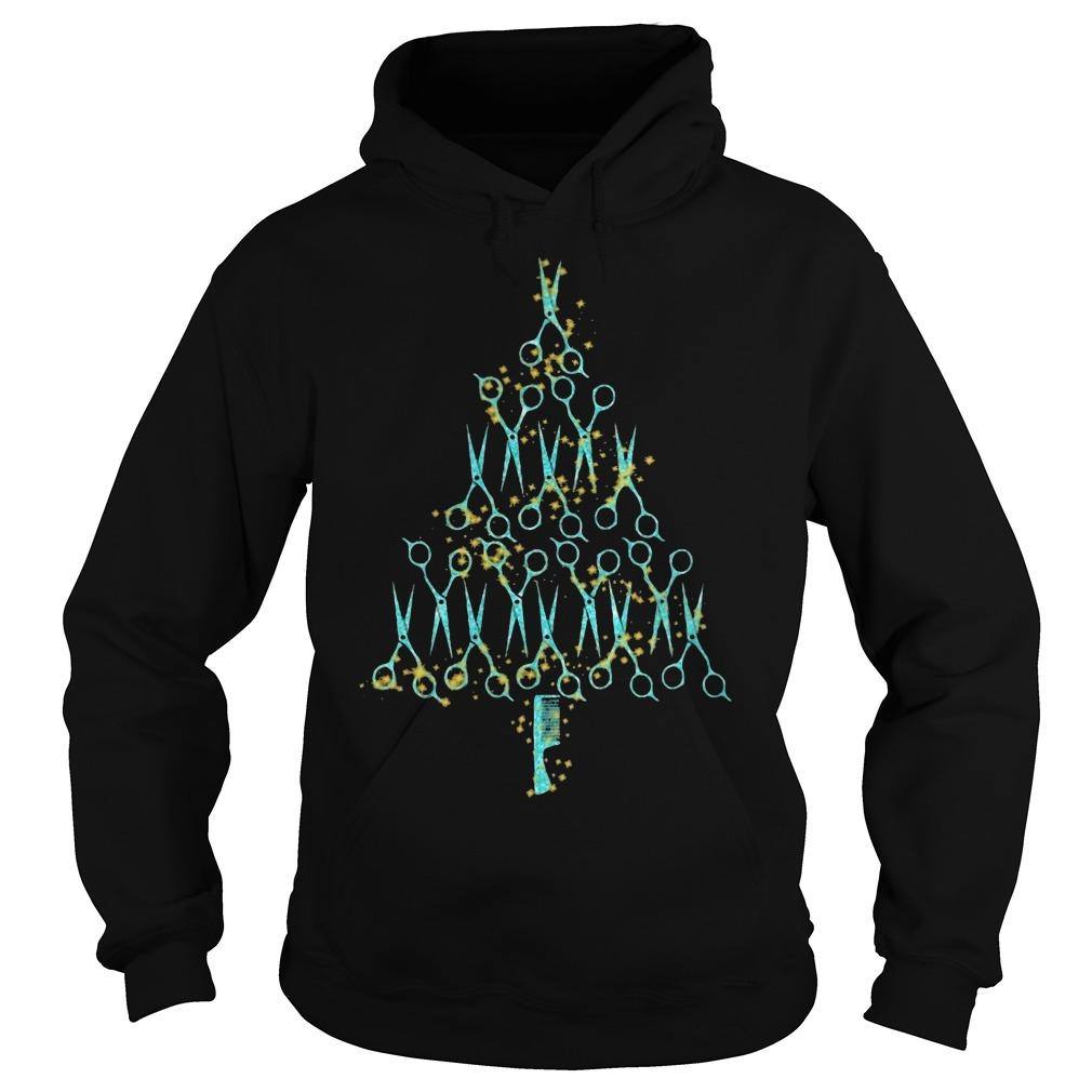 Hair Stylist Tools Scissor Combo Christmas Tree Hoodie
